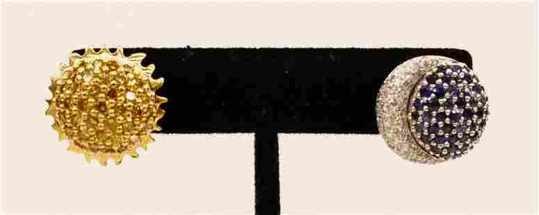 Pair Turgeon Raine ''Sun and Moon'' 18k Platinum