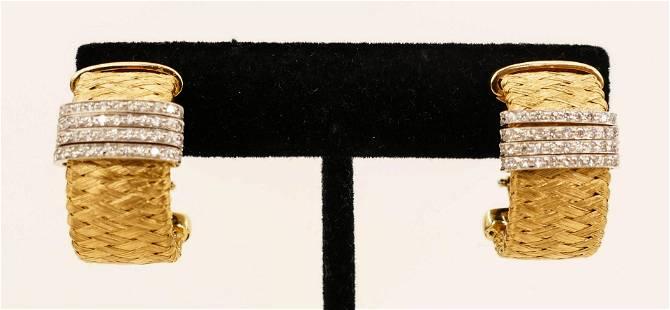 Pair Roberto Coin 18k Diamond Silk Weave Hoop Earrings