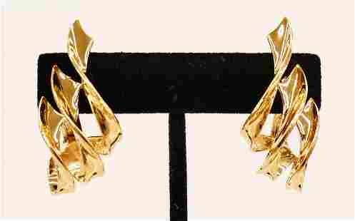 Pair Jose Hess 14k Gold Earrings 42x19mm. Marked ''JOSE