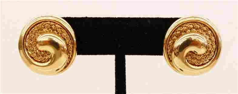 Pair Yuri Ichihashi 14k Round Textured Earrings 23mm.