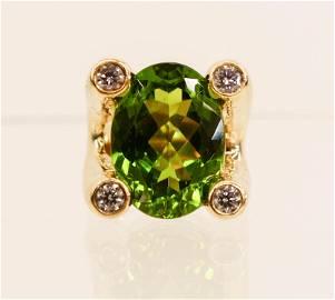 Foxfire 15ct Peridot Diamond 14k Fashion Ring Size 8.