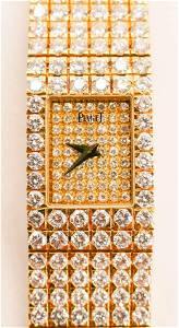 Lady's Piaget 18k Diamond Pave Bracelet Wrist Watch