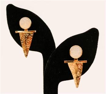Foxfire 14k Moon Stone Earrings 35x19mm Carved face