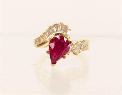 Ladys 225ct Ruby Diamond 14k Ring Size 7 It contains