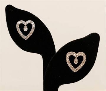 Pair Ladys 14k Heart Shaped Diamond Earrings