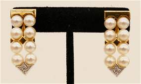 Pair Ladys 18k Diamond Pearl Dangle Fashion Earrings
