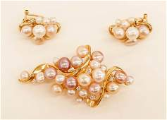 Ladys 14k MultiColor Pearl Diamond Brooch and Earring