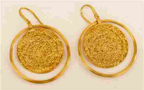 Pair Ladys 18k Byzantine Style Coin Earrings 41x38mm