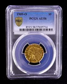 PCGS Graded US Gold 5 Dollar Indian Head 1909-O G$5