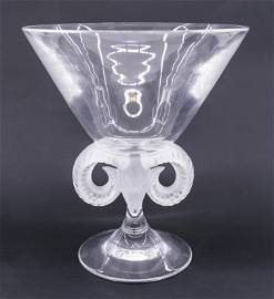 Lalique ''Aries'' Crystal Ram's Head Compote or Vase