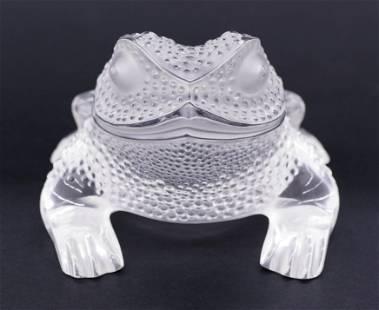 Lalique ''Gregoire Frog'' Crystal Figurine 3''x4.25''.