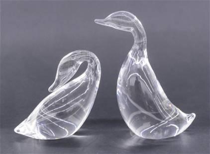 Pair Steuben Gander and Preening Goose Crystal