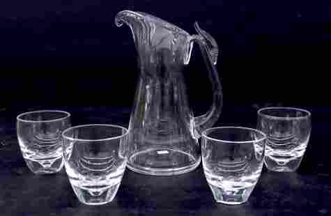 5pc Steuben Crystal Pitcher and Glasses Set. Includes a