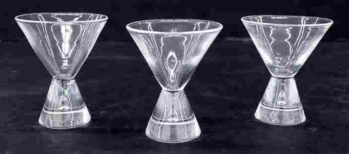 3pc Steuben Crystal Tear Drop Martini Glasses 4''.
