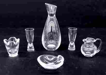 6pc Steuben Crystal Assorted Tableware. Includes a