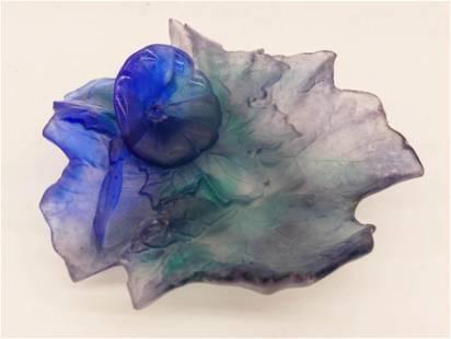 Daum ''Volubilis'' Pate de Verre Blue Leaf Dish 7.25''.