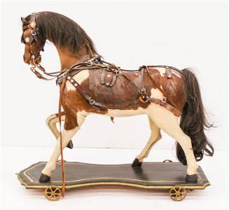 Antique Horse Model Ride On Pull Toy 30''x32''.