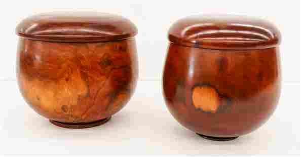 2pc Jonathan Somaoang Milo Wood Covered Bowls 10''x11''