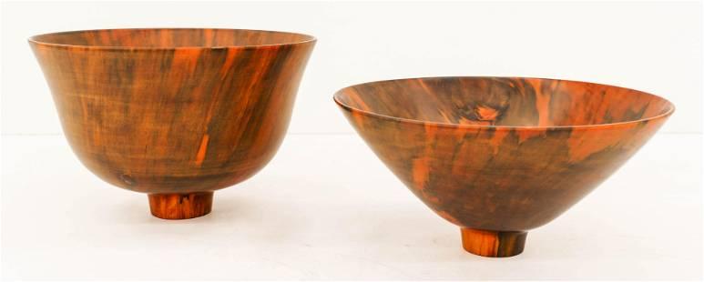 2pc Kelly Dunn Hawaiian Norfolk Pine Wood Bowls