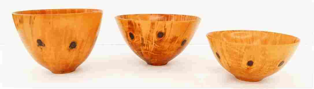 3pc Syd Verra Hawaiian Norfolk Pine Wood Bowls 5'' to