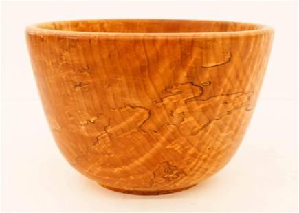 Ron Scrimsher Spalted Maple Turned Wood Large Bowl
