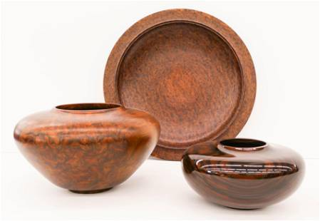 3pc Jon Kruger Turned Wood Vessels and Charger.