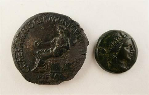 2pc Ancient Roman Bronze Coins Ungraded