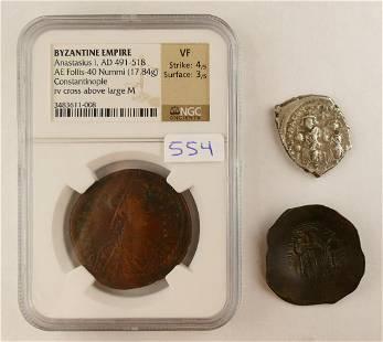 3pc Byzantine Bronze Silver CoinsAnastasius Etc