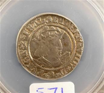 England Henry VIII Silver Groat SEGS VF20