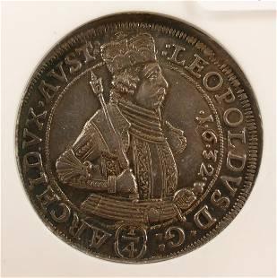 Austria Archduke Leopold 1632 14 Thaler PCI AU58