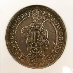 Austria Johann Ernst 1695 14 Thaler ANACS AU 55