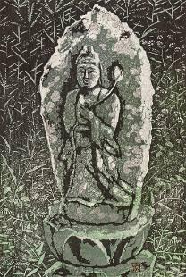 Shiro Kasamatsu ''Roadside Saint'' 1961 Woodblock Print