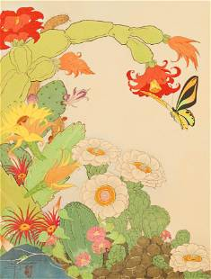 Paul Jacoulet ''Cactus'' (Mers du Sud) Woodblock Print