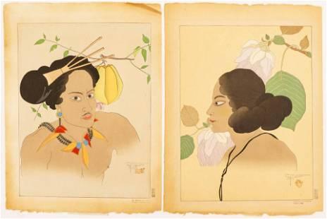 2pc Paul Jacoulet Portrait Woodblock Prints 18.5''x14''