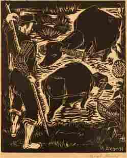 Nevzat Akoral (b.1926 Turkish) ''Farmer and Bulls''