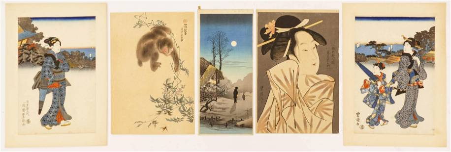 5pc Old Japanese Woodblock Prints. Includes Shotei