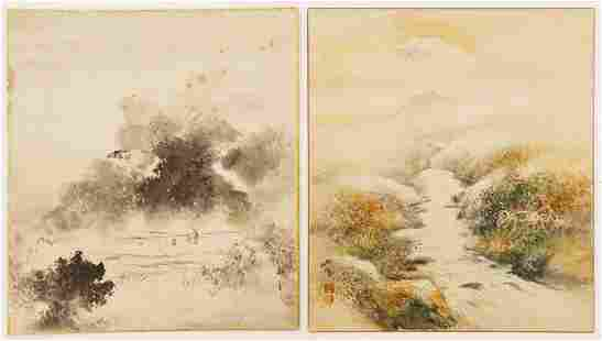 2pc Old Japanese Shikishi Board Watercolor Paintings