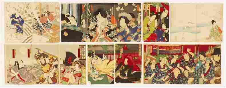 28pc Collection of Meiji Japanese Woodblock Prints.