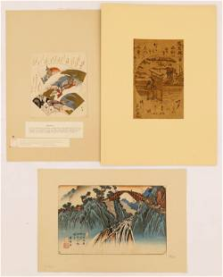 3pc Japanese Early Woodblock Prints and Surimono.