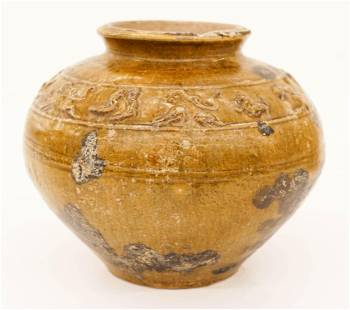 Chinese Han Glazed Pottery Jar 5x55 An ancient