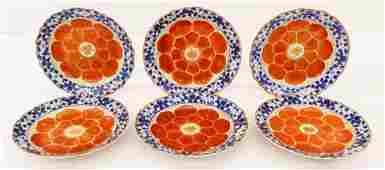 Set of Chinese Qing Lotus Foliate Rim Porcelain Plates