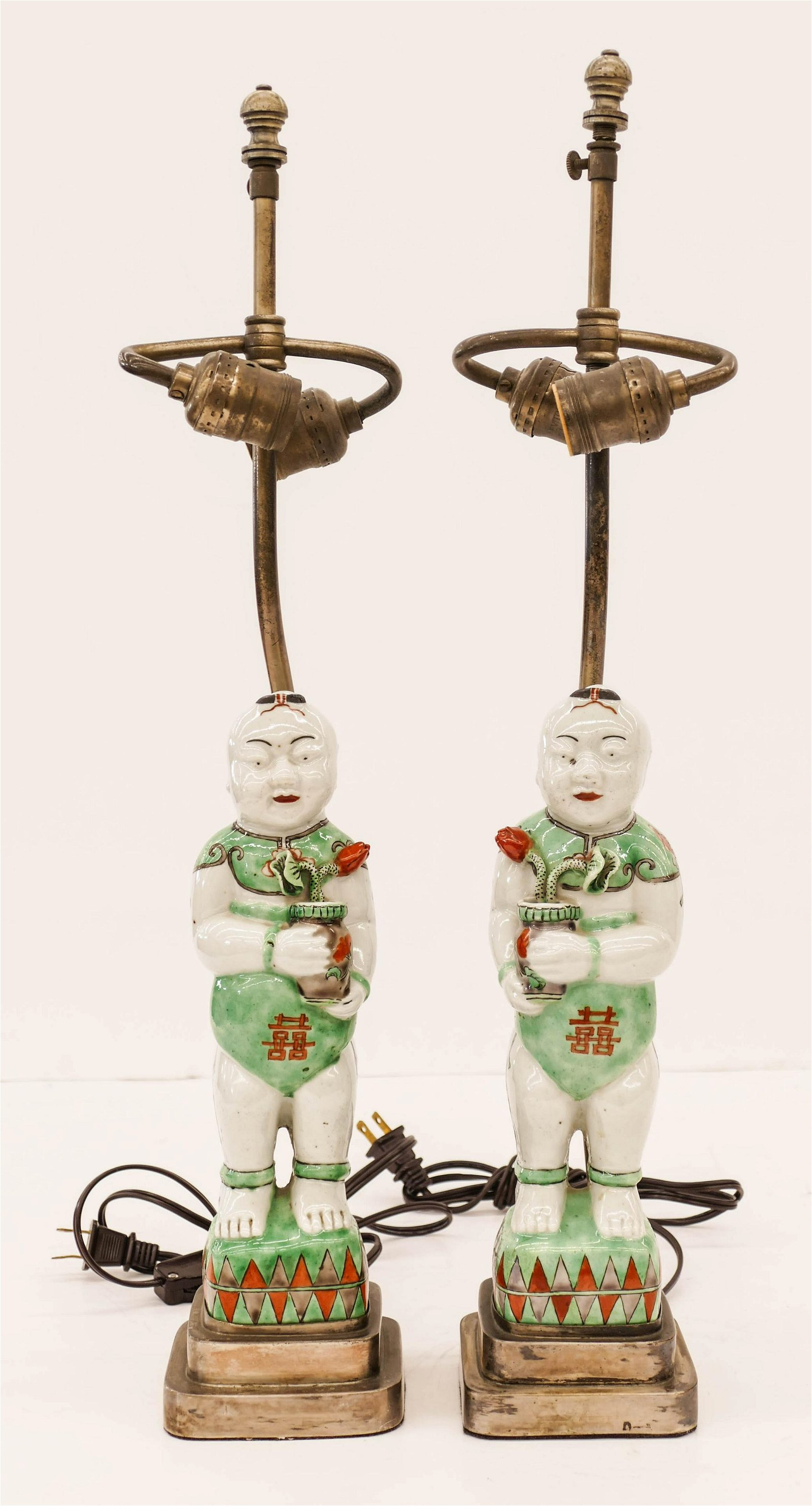 Pair of Chinese Republic Famille Verte Porcelain Boy