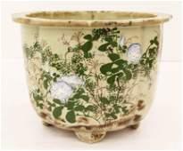 Old Japanese Seto Celadon Decorated Planter 9.5''x13''.