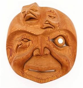 Ron Telek (1962-2017 Nisga'a) Moon Spirit Mask Carved