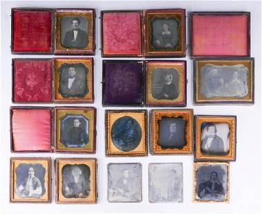 13pc Antique Daguerreotypes & Ambrotype Portraits