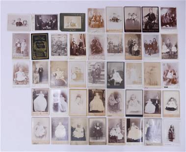 42pc Cabinet Card Portraits of Children & Families
