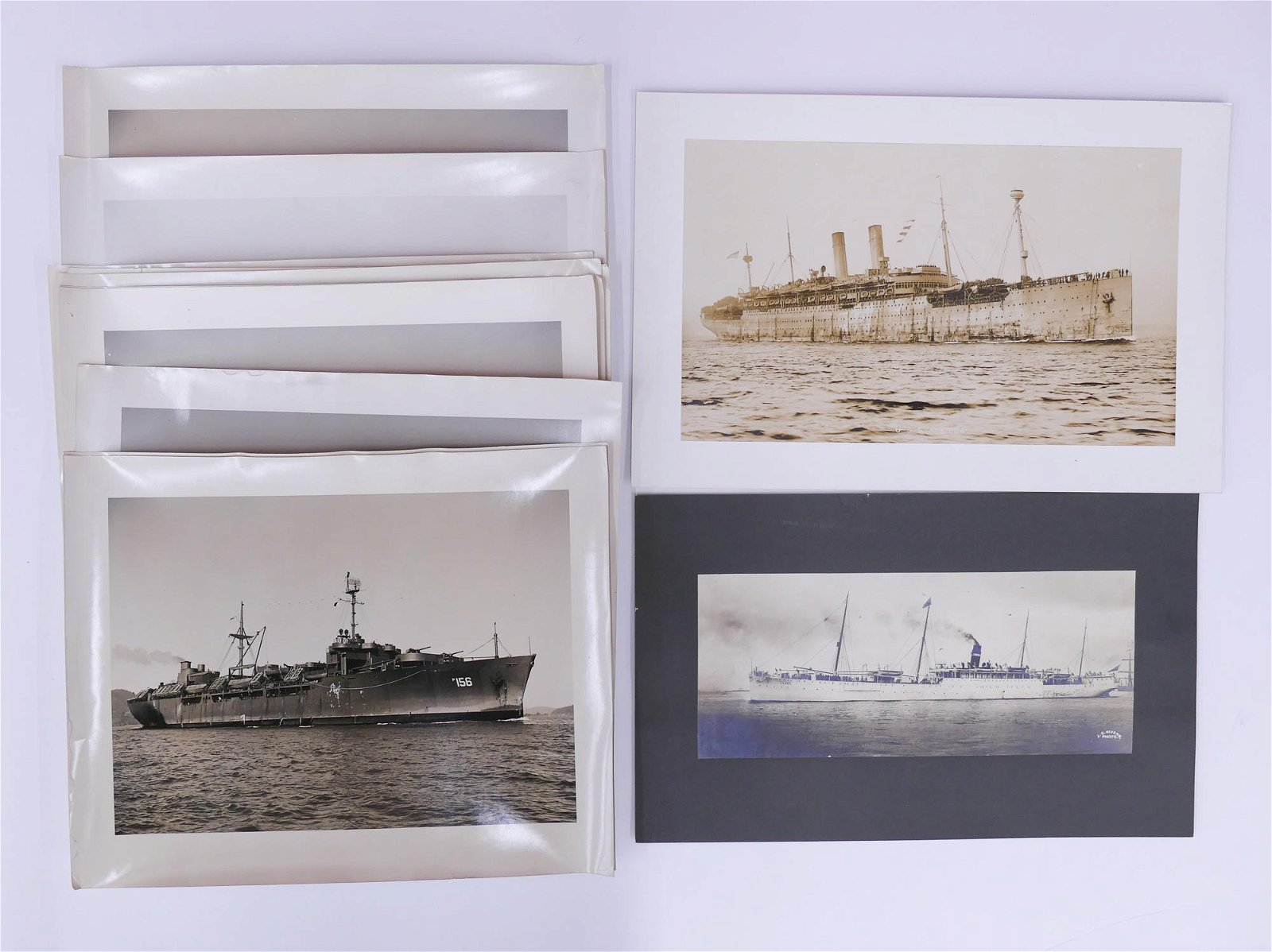 12pc Large Photographs of US Navy & Army Ships