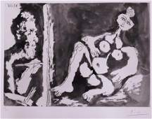 Pencil Signed Pablo Picasso Painter with Model Aquatint