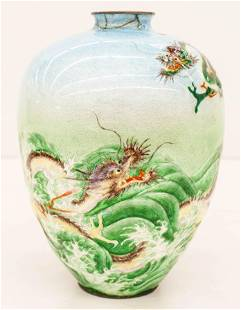 Kawaguchi Bunzaemon Japanese Cloisonne Dragon Vase