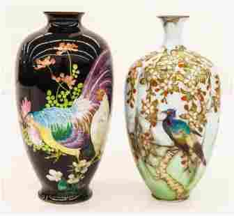 2pc Japanese Meiji Cloisonne Ginbari Bird Vases